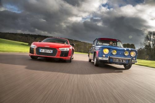 R8, audi, renault, gordini, bleu, bandes blanches, alpine, RS, renault sport, trophée
